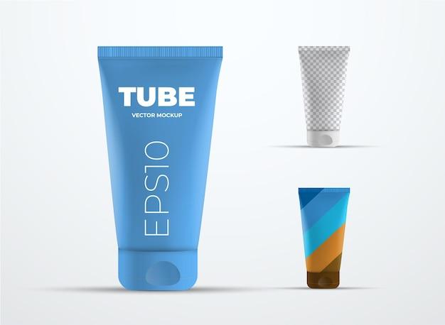 Mockup vektorrealistisches plastikrohr für sahne oder flüssigkeit. vorlage für präsentationsverpackungsdesign. satz