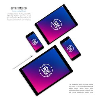 Mockup von gadgets und geräten von stift, smartphone, tablet, laptop und computermonitor mit farbigem bildschirmschoner isoliert