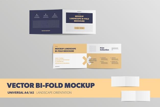 Mockup von offenen bifolds vorne und hinten universelle broschüren a4 a5 auf dem hintergrund isoliert