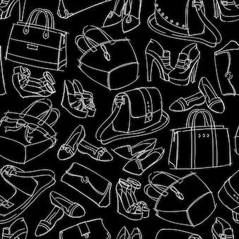 Mode-accessoire-skizze der nahtlosen frau