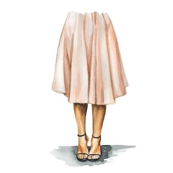 Mode-aquarellillustration der jungen frau im stilvollen trendigen outfit. hand gezeichnete skizze des weiblichen hipster-looks. urbaner streetstyle.
