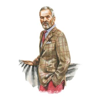Mode-aquarellillustration des mannes im geschäfts-freizeitoutfit mit tasse kaffee in der hand. hand gezeichnetes gemälde des eleganten anzugs. luxus-look