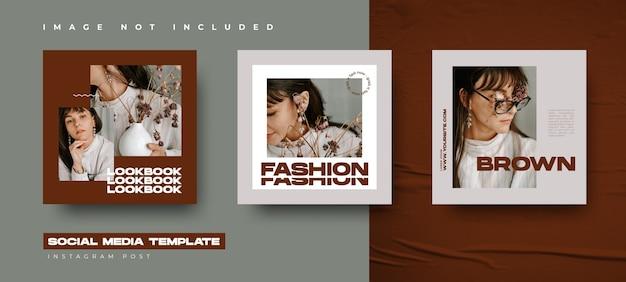 Mode-banner-design-vorlage mit abstraktem stil für ihre sozialen medien und instagram-post