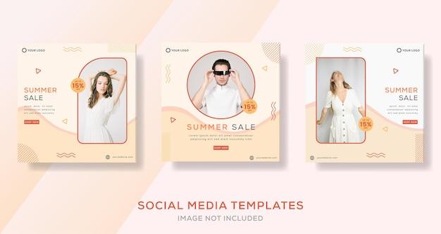 Mode-banner-vorlage für den sommerverkauf premium-vektor