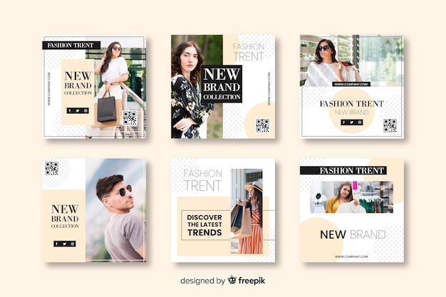 Mode-banner-vorlagen für social media