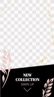 Mode blumengeschichte. niedliche rosa neue sammlung social media story-vorlage. ankündigung einer neuen promo-story mit wischpfeil nach oben und illustration einer neuen kollektion für die werbung