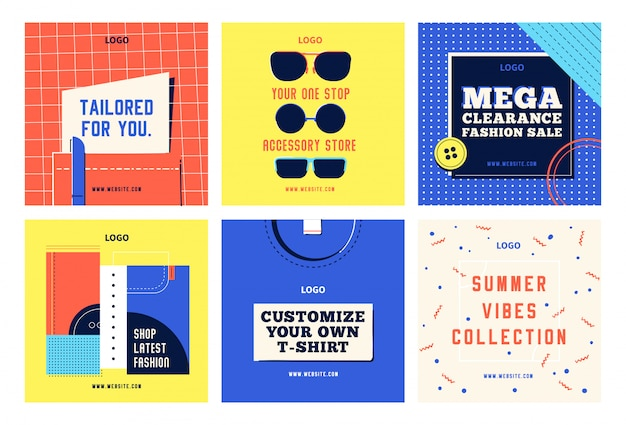 Mode einkaufen social-media-beitragsvorlagen instagram facebook festgelegt