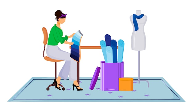 Mode er atelier farbabbildung. auswahl der richtigen farbe und des richtigen textils in der werkstatt. entwerfen von kleidung in schneider-studio-zeichentrickfigur auf weißem hintergrund