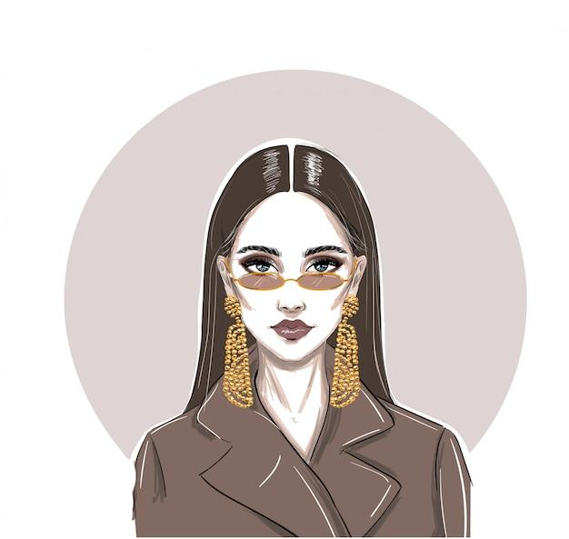 Mode ernsthafte mikrobrille frau