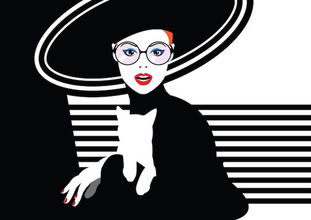 Mode frau im stil der pop-art.