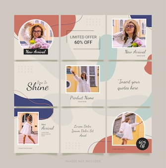 Mode frauen instagram post vorlage. social media puzzle