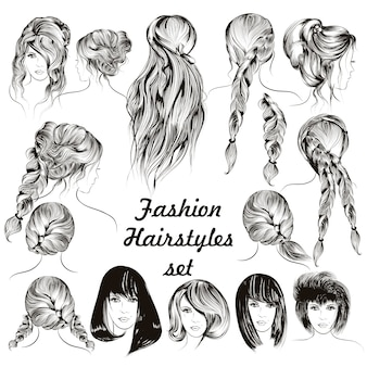 Mode-frisuren kollektion
