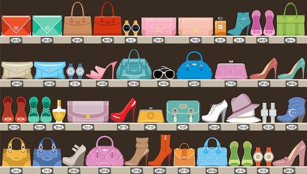 Mode geschäft. boutique mit accessoires, taschen und schuhen