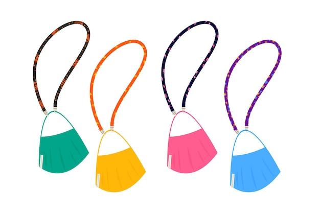 Mode gesichtsmaske lanyard set