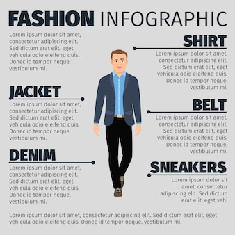 Mode infografik mit geschäftsmann