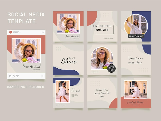 Mode instagram feed vorlage. social media puzzle