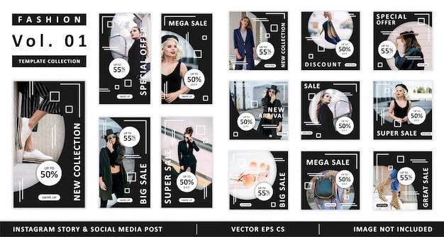 Mode instagram geschichte und social media beitragsvorlage sammlung