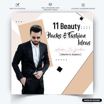 Mode instagram post web banner template vector premium vektoren