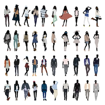 Mode-junge leute-schattenbild-vektor
