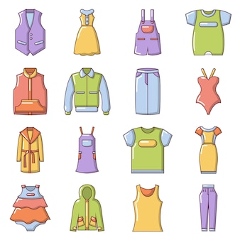 Mode kleidung tragen icons set