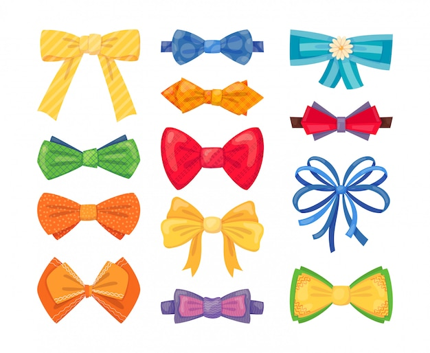 Mode krawatte bogen zubehör cartoon mit gebundenen bändern gesetzt