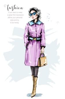 Mode mädchen im mantel