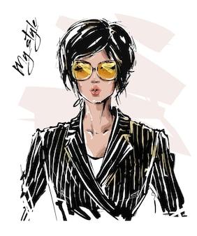 Mode mädchen in der sonnenbrillenillustration
