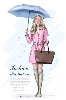 Mode mädchen mit regenschirm.