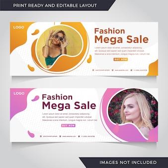 Mode mega sale banner vorlage set