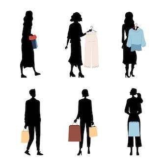 Mode menschen silhouetten, käufer oder kunden mit trendigen mode kleidung. charaktere kaufen ein. männer und frauen halten kleidung, taschen mit einkäufen.
