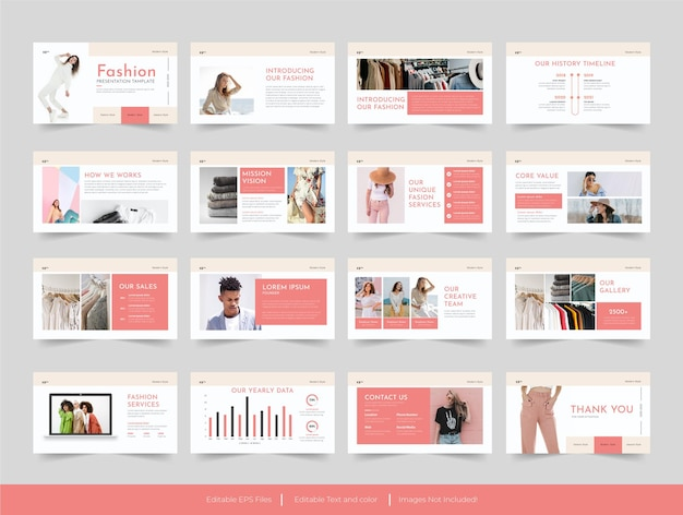 Mode minimale folien präsentationsvorlagendesign