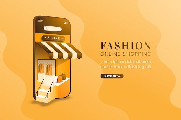 Mode-online-shopping-konzept auf mobilem hintergrund