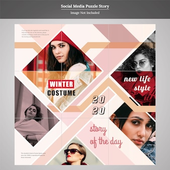 Mode puzzle social media post story design