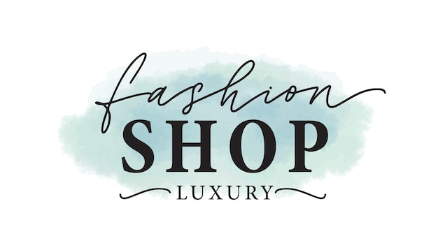 Mode-shop-logo-vektor-illustration. luxusbekleidungsgeschäft aquarell logo, etikettendesign. inschrift auf blauer farbe schmiert hintergrund. bekleidungsgeschäft-schriftzug mit aquarellpinselstrichen.