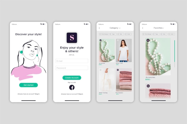 Mode-shopping-app-konzept