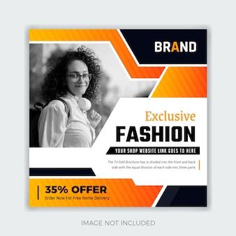 Mode social media post banner vorlage. abstraktes und farbenfrohes thema