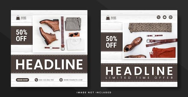 Mode-social-media-post oder flyer-vorlage in quadratischem banner mit pastellfarbschema