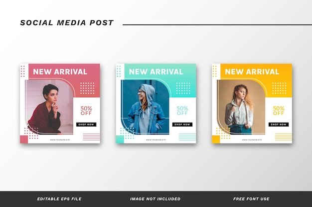 Mode social media post template set