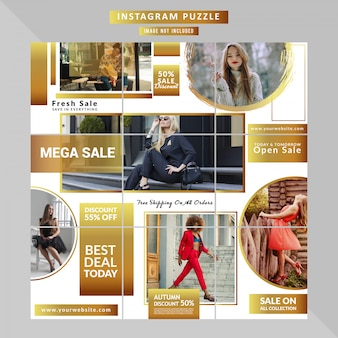 Mode-social-media-puzzle-vorlage