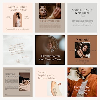 Mode-social-media-verkaufsvektorvorlage mit herbst-/winter-werbeaktionskollektion