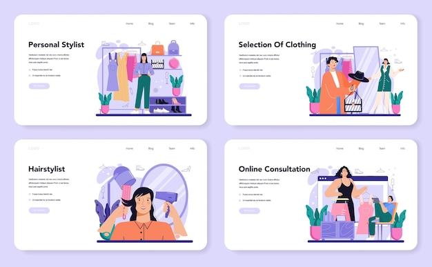 Mode-stylist-web-banner oder landing-page-set modernen kreativen job
