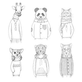 Mode tierfiguren. die gezeichnete hippie-hand stellt tiere in den verschiedenen kleidungsbildern dar