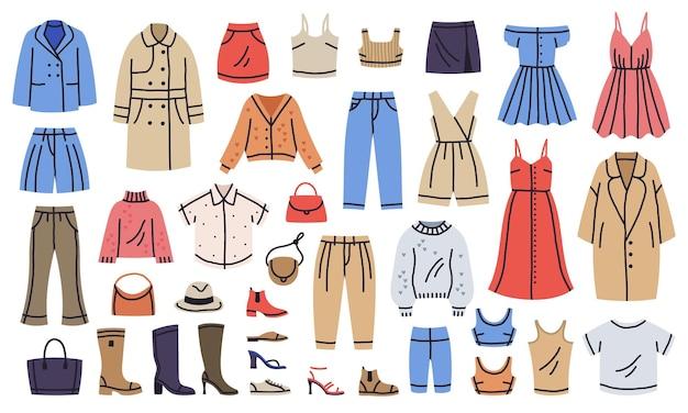 Mode trendige weibliche kleidung und accessoires stilvolle outfits vektor-set