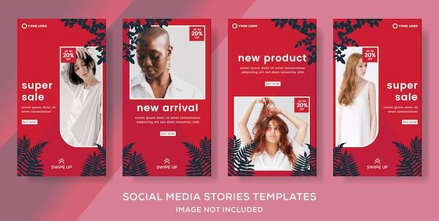 Mode-verkauf-banner-geschichten-post-vorlage für social mediaremium-vektor