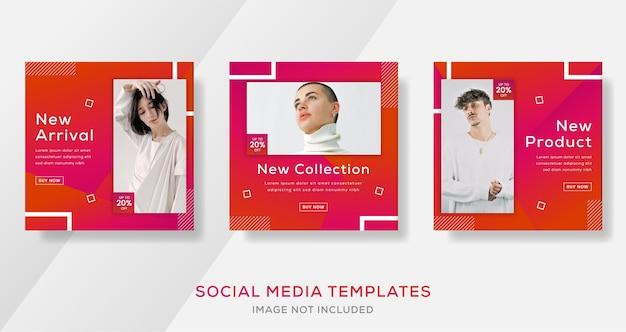 Mode verkauf banner post vorlage mit gradier farbe. premium-vektor