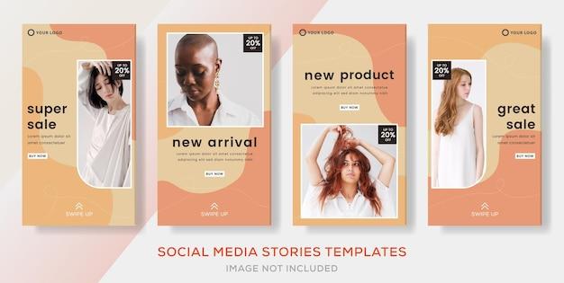 Mode-verkauf-banner-vorlagen-geschichten post premium-vektor