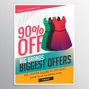 Mode verkauf rabatt werbebroschüre flyer vorlage mit kleid illustration und bunten formen