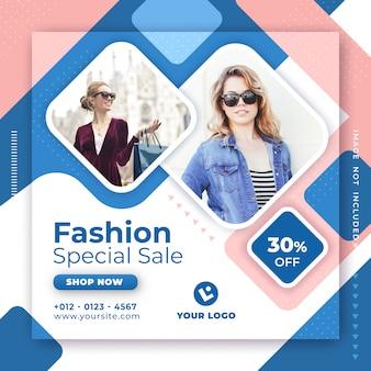 Mode-verkaufsfahnen-social media-beitrags-designschablone.