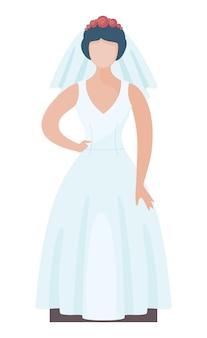Modebraut, die stilvolles hochzeitskleid mit rosenkranz trägt