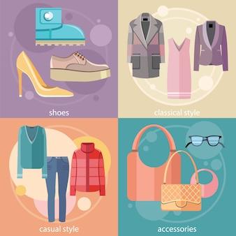 Modedesign kleidung und accessoires